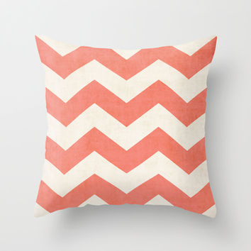 Vintage Coral Chevron Throw Pillow by The Dreamery