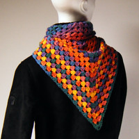 Last One - Shawl Scarf Multicoloured Crochet Triangle
