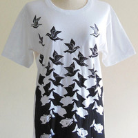 Bird Shirt Fish Shirt Animal Design Art -- Animal T-Shirt Art T-Shirt Women T-Shirt Men T-Shirt Animal Tee Shirt White T-Shirt Size M