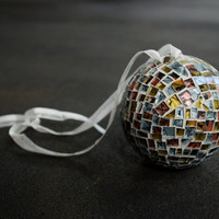 Mosaic Christmas Ornament, Silver and Gold