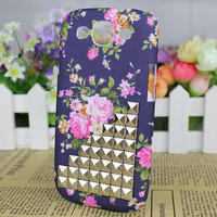 Prettiest Flower Hard Shell And Silver Stud for Samsung Galaxy S3 i9300