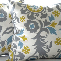 Throw pillow cover decorative Suzani Grey print  18 x 18