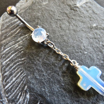 Milky Opal Cross Belly Button Ring Jewelry- White Opal Stone Cross Rosary Chain Charm Navel Piercing