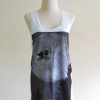 E.T. The Movie Shirt Art Design -- E.T. Shirt Women Tank Top Vest Tunic Top Sleeveless Singlet White Shirt Movie T-Shirt Size M