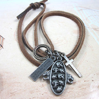 soft leather necklace,metal pendant men leather long necklace, women leather necklace   XL123