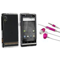 Clear Crystal Hard Case for Motorola A855 Droid + Earphones Headphones with Mic (pink): Cell Phones & Accessories