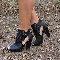 Bailey Open Toe Black Booties