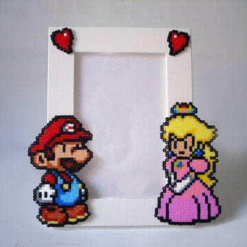 Paper Mario Picture Frame - White Frame with Mario & Peach - Horizontal or Vertical