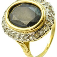 LavishShoestring | Vintage 18ct Gold Large Oval Sapphire & Diamonds Ring with Decorative Cage Setting