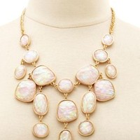 Faceted Opal Statement Bib Necklace by Charlotte Russe - Pale Peach