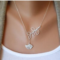 Fashion Adjustable Silver Bird branches Clavicle Necklace Vintage Antique Silver Necklace B42S21
