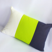 Colour block Navy, White & Lime Green, Pillow cover, lumbar pillow, neck pillow, neon pillow nautical navy white cushion