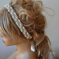 Pearl Headband, Wedding Pearl Headband, Bridal Pearl Headband, Wedding hair Accessory, Bridal Hair Accessory