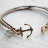 Sandy Beach-- Anchor clasp bracelet, brown and tan leather cord with swarovski crystal and bronze anchor clasp