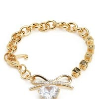 PAVE BOW & HEART CHARM BRACELET by Juicy Couture, O/S