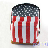 New Canvas USA American Flag Punk BackPack Shoulder Bag Handbag Duffle School