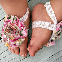 Baby Barefoot Sandals..Floral Print..Newborn Barefoot Sandals..Toddler Barefoot Sandals