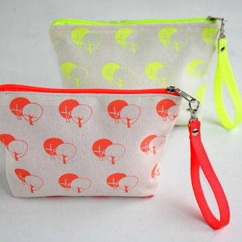 Wristlet zipper pouch neon colors- Small wristlet purse  - Cotton small wristlet bag hand printed tree pattern - Neon coral and yellow