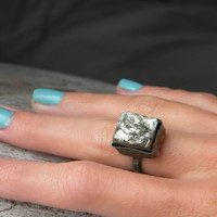 Geometric Pyrite ring - sterling silver antiqued ring - sterling silver jewelry handmade - size 5 3/4 (UK/AUS L-L1/2)