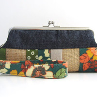 Wristlet frame clutch- stripe patchwork- navy blue