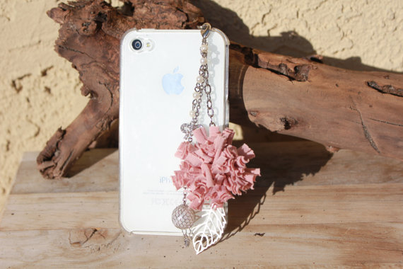 Handmade iPhone plug, dust plug for cell phone/ Kawaii Pink flower Cham /  pearl&silver Accessories
