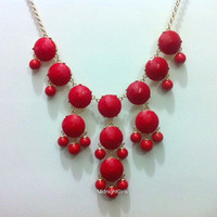 Free Shipping &amp; Gift Wrapping, Bubble Necklace, Bubble Statement Necklace, Red Bubble Necklace, J Crew Inspired, Red