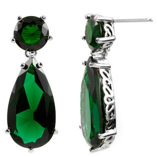 Emerald Earrings - Petite Sterling Silver- WMU-Jewelry-Gemstones-Earrings