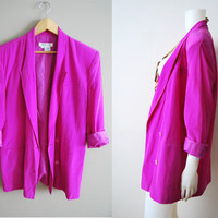 Silk Sweetheart - Vintage BRIGHT Pink Purple SILK Slouchy Blazer Jacket