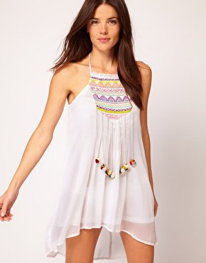 River Island Embroidered Pom Pom Dress at asos.com