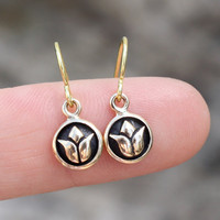 Lotus Flower Earrings - Tiny Bronze Lotus Flower Charms . Yoga Jewelry . Simple and Sweet . Yogis and Yoginis . Buddhism & Zen