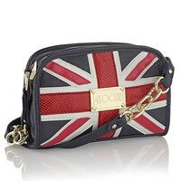 Navy appliqued Union Jack across body bag at debenhams.com