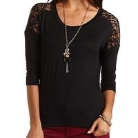 Lace Yoke High-Low Tee by Charlotte Russe