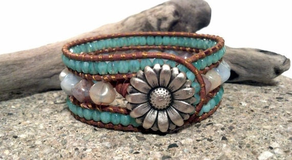 Leather Cuff Bracelet, Beaded Cuff Bracelet, Ocean View, Leather Wrap Bracelet, PZW075