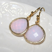 Pink Opal Earrings, Pink Opal Pearl faceted glass drop bezel set Golden Earrings, Wedding Earrings, Birthday Gift -October birthstone