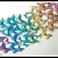 50 Monarch Rainbow - 50 Edible Butterflies - wedding cake decorations - cake  topper - party - reception