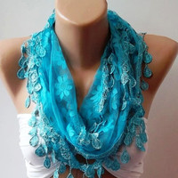 Scarf - Blue Scarf -Elegance Scarf-Shawl