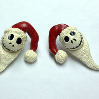 Santa Jack Skellington Post Earrings, Polymer Clay, Made to Order