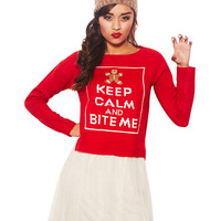 Keep Calm & Bite Me Sweater | Wet Seal