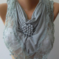 Grey / Elegance  Shawl / Scarf with Lacy Edge