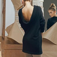 Black Warm Woolen Open Back Muse Dress