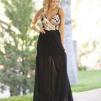 Goddess Gazing Maxi Dress Black/Gold