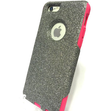 Custom iPhone 6 (4.7 inch) Glitter Otterbox Commuter Cute Case,  Custom  Glitter Graphite / Pink Otterbox Color Cover for iPhone 6