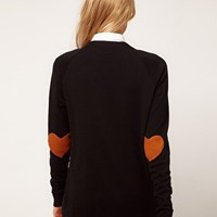 ASOS Cardigan With Heart Elbow Patch at asos.com
