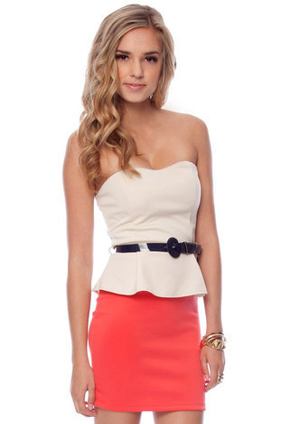 Vanna Belted Peplum Dress $39