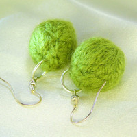 Leaf Green Knitted-Bead Earrings