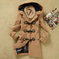 Fashion Womens Winter Coats Trench Coat Wool Jackets Toggle Duffel Parka Anorak