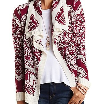 Printed Cascade Cardigan by Charlotte Russe - Burgundy Cmb