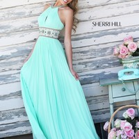 Sherri Hill 11251 Halter Chiffon  Prom Dress