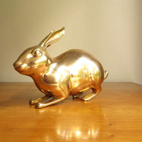 Vintage Brass Rabbit Figurine, Gold Bunny Statue, Gold Rabbit, Brass Animal, Large Rabbit Figure