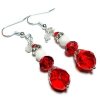 Christmas Earrings Holiday Jewelry Mrs. Claus Gift for Her Wire Choice
